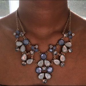 Light blue & clear statement necklace